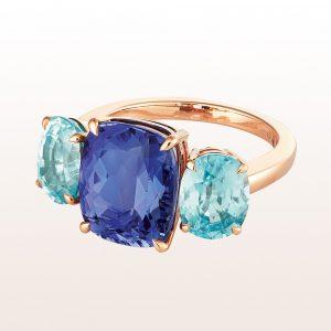 Ring mit Tansanit 6,50ct und blaue Zirkone 6,41ct in 18kt Roségold