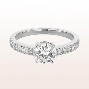 Ring mit Brillant 1,08ct und Brillanten 0,67ct in 18kt Weißgold