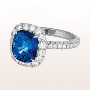Ring mit Saphir 5,25ct und Brillanten 2,02ct in 18kt Weißgold