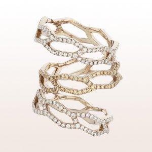 Ring mit weißen und braunen Diamanten 0,27ct in 18kt Roségold von Designerin Julia Obermüller
