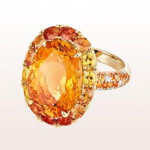 Ring mit Citrin 10,71ct, orangen und gelben Saphiren 3,45ct und Brillanten 0,14ct in 18kt Gelbgold