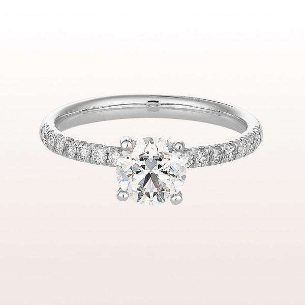 Ring mit Brillant 1,00ct und Brillanten 0,25ct in 18kt Weißgold