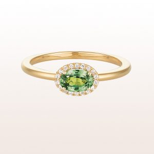 Ring mit grünem Saphir 0,73ct und Brillanten 0,06ct in 18kt Gelbgold