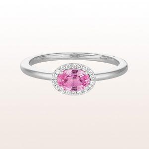 Ring mit rosa Saphir 0,66ct und Brillanten 0,06ct in 18kt Weißgold