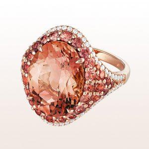 Ring mit orangem Turmalin 9,40ct und orangen Saphiren 2,23ct in 18kt Roségold