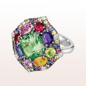 Ring mit hellgrünem Turmalin 3,95ct, Amethyst, Peridot, bunten Saphiren, Rubin, Tsavorit und Brillanten 0,11ct in 18kt Weißgold