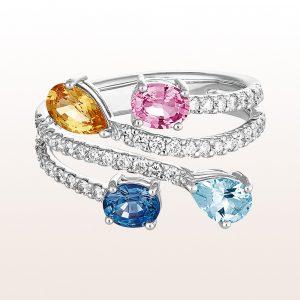 Ring mit rosa, blauem und gelbem Saphir 1,53ct, Aquamarin 030ct und Brillanten 0,51ct in 18kt Weißgold