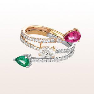 Ring mit Smaragd 0,34ct, rosa Saphir 0,52ct und Brillanten 0,92ct in 18kt Roségold