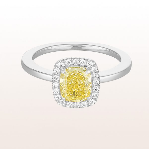 Ring mit fancy yellow cushion Diamant 1,43ct und Brillanten 0,16ct in18kt Weißgold