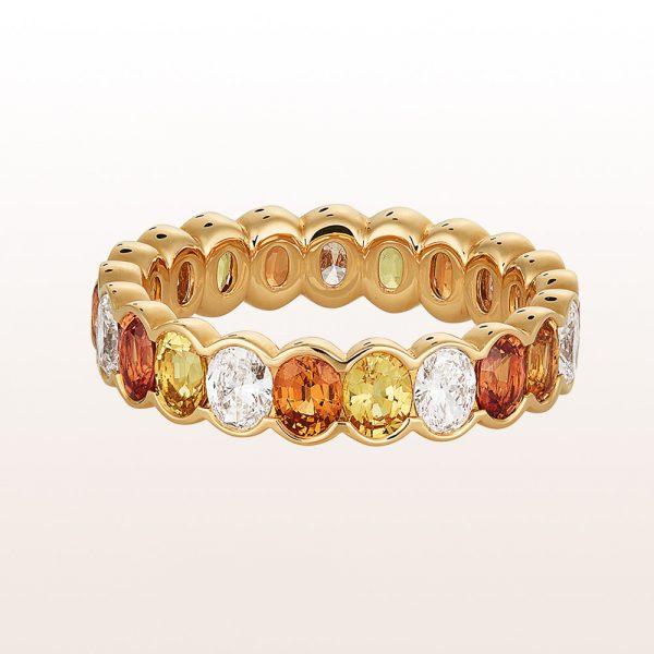 Ring mit orangen und gelben Saphiren 2,70ct und ovale Diamanten 1,02ct in 18kt