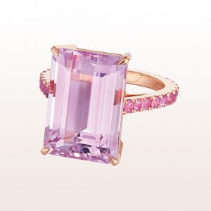Ring mit Kunzit 13,30ct und rosa Saphiren 1,30ct in 18kt Roségold
