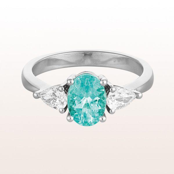Ring mit Paraiba-Turmalin 1,24ct und Diamanttropfen 0,48ct in 18kt Weißgold