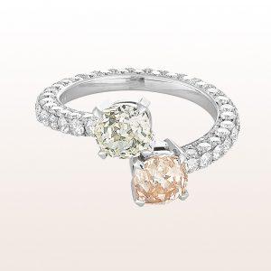 Ring mit zwei Altschliffdiamanten 2,31ct und Brillanten 1,83c in 18kt Weißgold