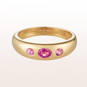 Alliance ring with pink sapphire 0,43ct in 18kt yellow gold