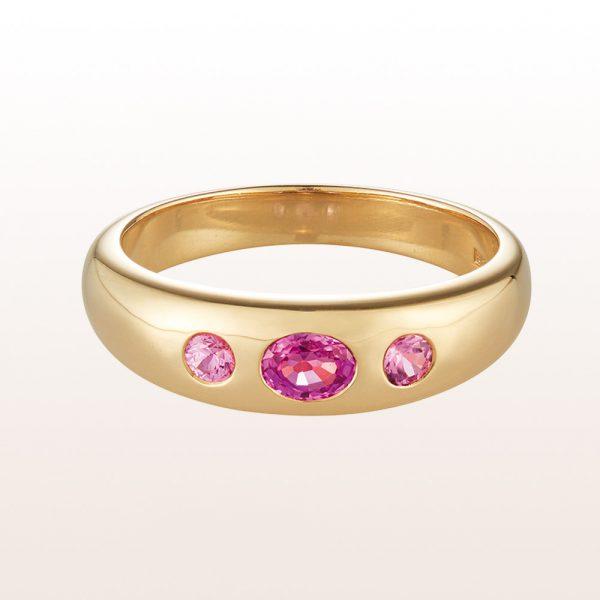 Alliancering mit rosa Saphiren 0,43ct in 18kt Gelbgold