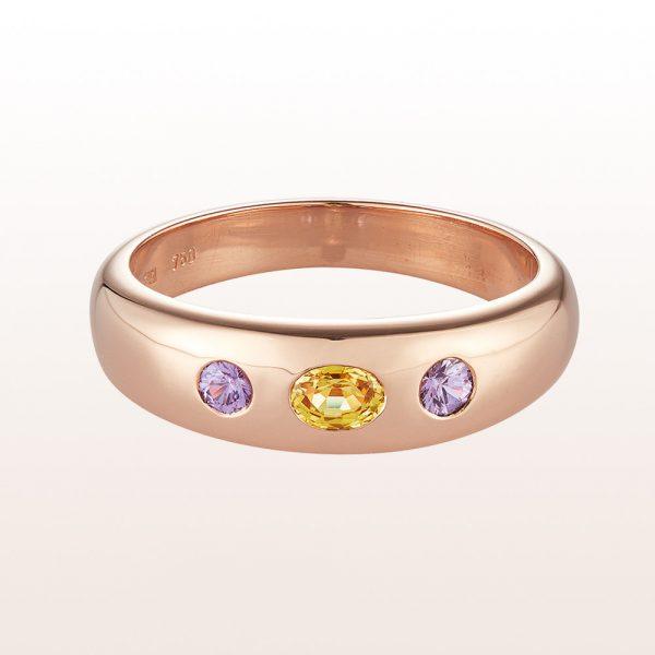 Alliancering mit gelbem Saphir 0,23ct und violetten Saphiren 0,14ct in 18kt Roségold