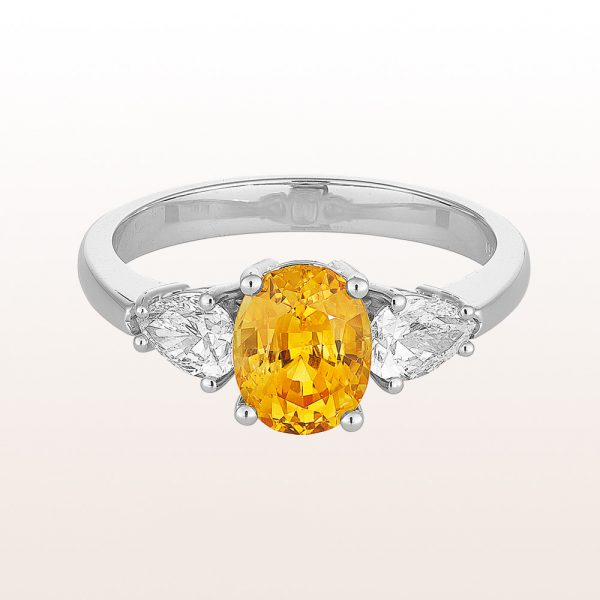 Ring mit gelbem Saphir 1,75ct und Tropfen-Diamanten 0,62ct in 18kt Weißgold