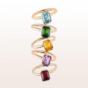Ringe mit Topas, Turmalin, Citrin, Amethyst und Rhodolith in 18kt Rosé-, Weiß - und Gelbgold