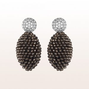 Earrings with brilliants 0,99ct and smoky quartz in 18kt white gold
