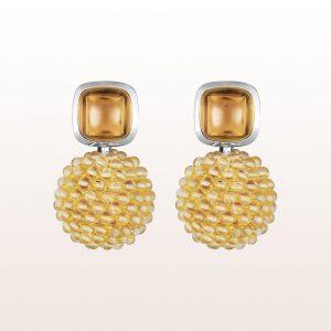 Ohrgehänge mit Mandaringranat 9,19ct und Citrin in 18kt Weißgold