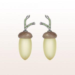Ohrgehänge mit Citrin, Achat und Tsavorit in 18kt Weißgold