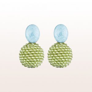 Earrings with violane, peridot in 18kt white gold