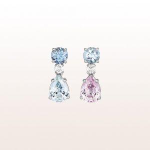 Ohrgehänge mit Aquamarine 1,02ct, Brillanten 0,17ct und rosa und blaue Saphire 3,16ct in 18kt Weißgold