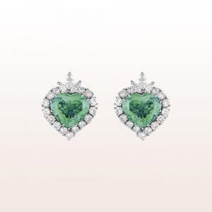 Ohrgehänge mit Smaragdherzen 11,19ct und Diamanten 3,00ct in 18kt Weißgold