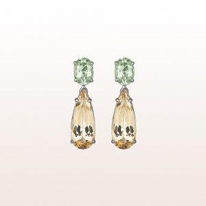 Ohrgehänge mit grünen Beryllen 1,97ct und chamagner Beryllen 4,61ct in 18kt Weißgold