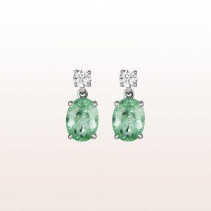 Ohrgehänge mit Paraiba-Turmalinen 3,30ct und zwei Altschliff-Diamanten 0,43ct in 18kt Weißgold