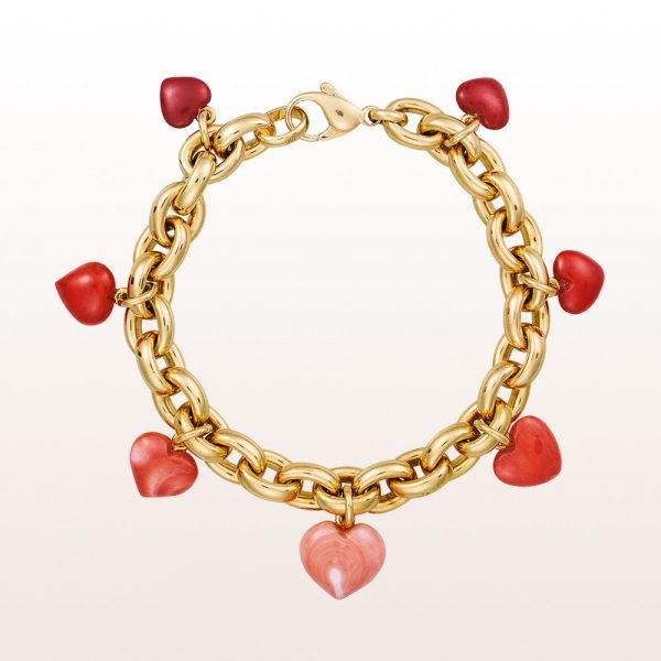 Bracelet with coral hearts in 18kt yellow gold
