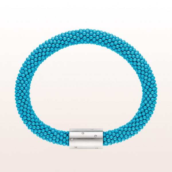Coccinella bracelet with turquoise and a brilliant occupied 18kt white gold clasp