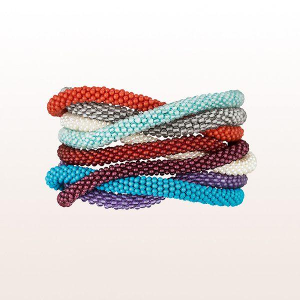 Coccinella bracelets in coral, rock crystal, pearl, carnelian, turquoise, garnet, amethyst