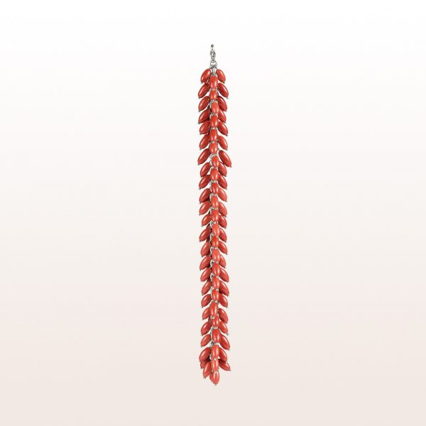Bracelet with coral in 18kt white gold