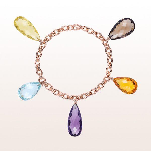 Bracelet with smoky quartz, citrine, amethyst and topaz in 18kt rose gold