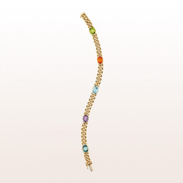 Curb chain bracelet with peridot, mandarin-garnet, topaz, amethyst and green tourmaline in 18kt yellow gold