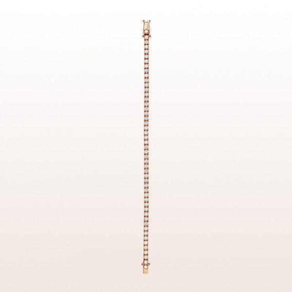 Tennis bracelet with brilliant cut diamonds 3,66ct in 18kt rose gold