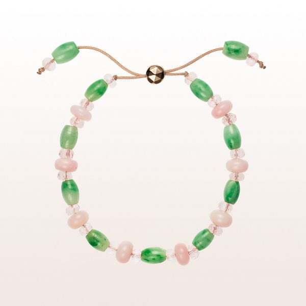 Bracelet with jade, rose quartz and opal with a gold-plated silver clasp