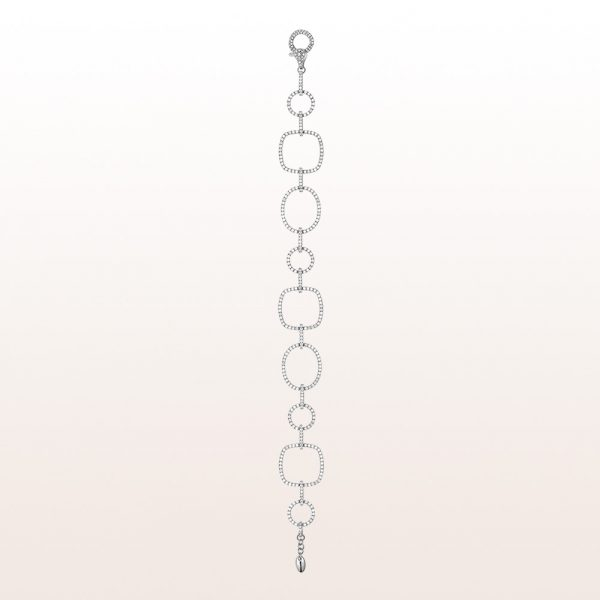 Bracelet with brilliant cut diamonds 2,71ct in 18kt white gold
