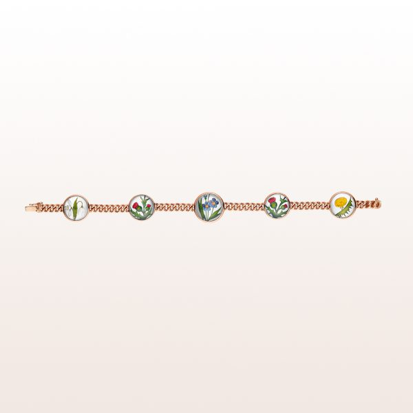 Bracelet with flower-motives on crystal quartz and mother of pearl in 18kt rose gold