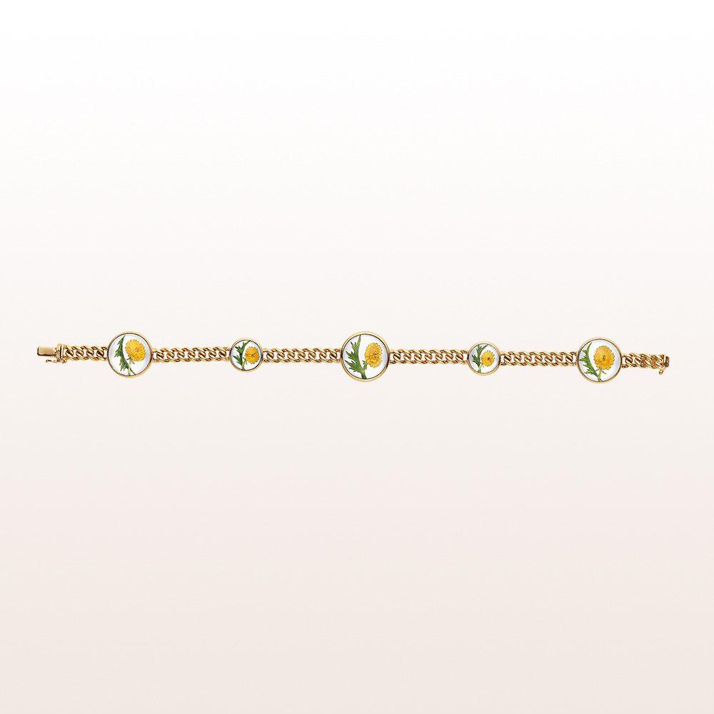 Armband mit gravierten Bergkristallen und Perlmutt in 18kt Gelbgold