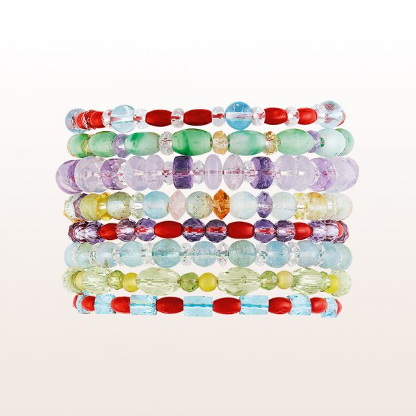 Bracelets out of multi coloured gemstones with silver clasps