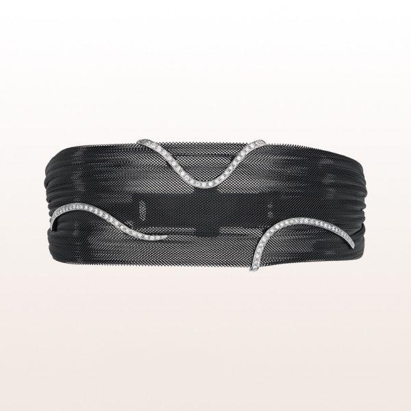 Armband aus schwarzem Kunststoff mit Brillanten 0,36ct und einer Stahlschließe