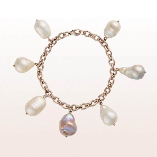 Bracelet with baroque gray and white cultured pearls in non-plated white gold