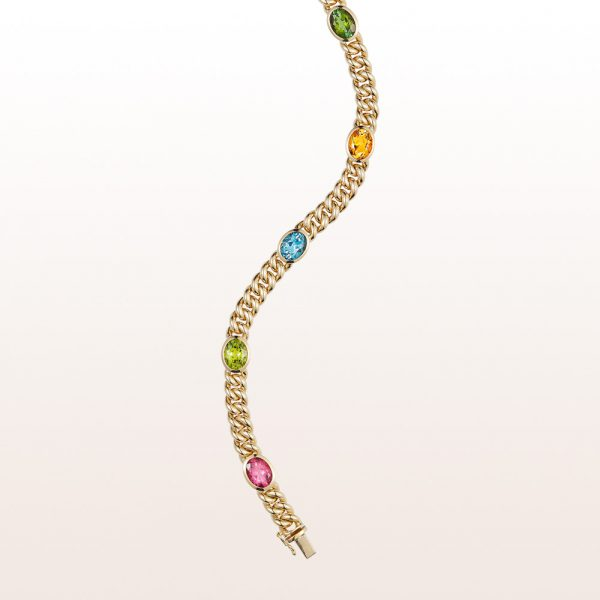 Bracelet with green tourmaline 1,84ct, citrine 1,76ct, topaz 2,50ct, peridot 2,08ct and rubellite 1,93ct in 18kt yellow gold