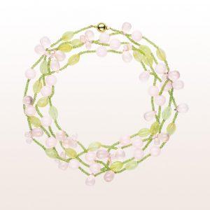 mit rosa Calcit, Prehnit, Rosenquarz und Peridot mit einer 18kt Gelbgold Kugelschließe