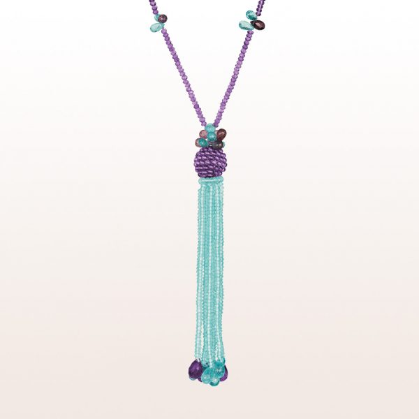 Necklace with amethyst, apatite and spinel and an 18kt white gold clasp