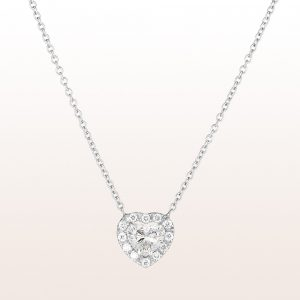 Collier mit Diamantherz 0,77ct und Brillanten 0,14ct in 18kt Weißgold