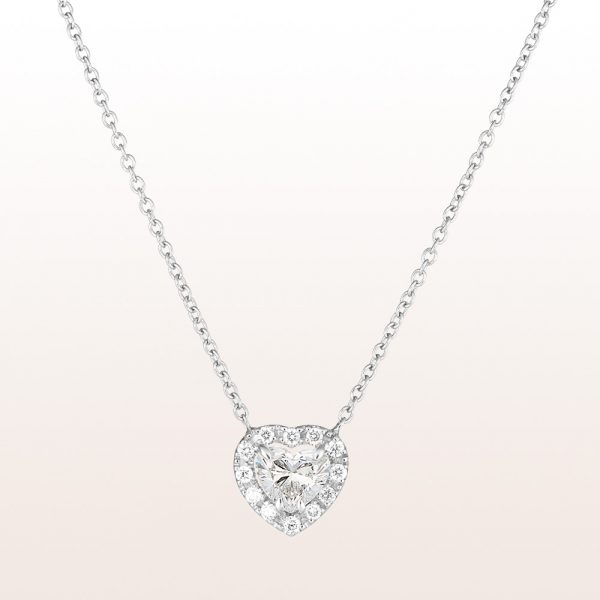Necklace with diamond hearts 0,77ct and brilliant cut diamonds 0,14ct in 18kt white gold
