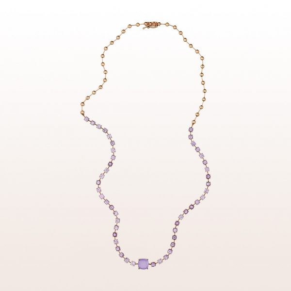 Necklace with purple chalcedony and pink sapphires in 18kt rose gold